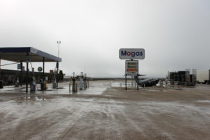 Petrol station rainy day
