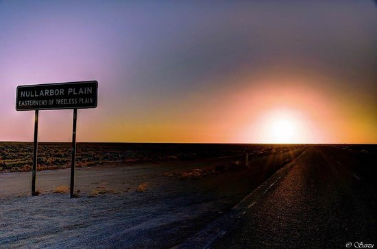 Sunset at nullarbor plain